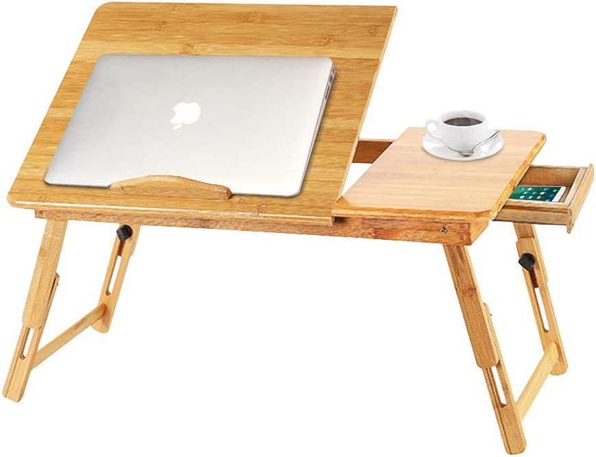 Bamboo Laptop Desk, Foldable Breakfast Serving Bed Tray, Portable Lap Desk with Drawers, Lifting Table, Adjustable Legs for Home Office Travel (21.7 x 13.8 Inch)