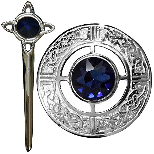 Scottish Kilt Fly Plaid Brooch with Blue Stone 3