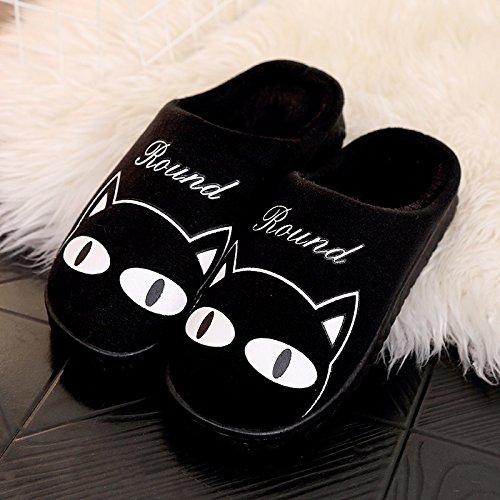 Fankou autunno inverno Cartoon carino uomini e donne adulti pantofole di cotone cotone caldo scarpe anti-slip case con piscina home scarpe ,37-38, rosa gatti grassi