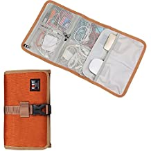 BUBM Roll-Up electronics organizer, travel carry case, Hanging Toiletry Cosmetics Bag, Cable Stable, Wash Bag, Baby Healthcare kit(3Folded,Orange)
