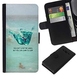 KLONGSHOP // Tirón de la caja Cartera de cuero con ranuras para tarjetas - mano fría texto signo de surf playa de tipo - Samsung Galaxy A3 //