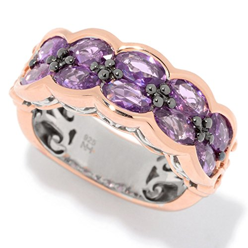 Michael Valitutti Palladium Silver Lilac Sapphire Two-Row Band Ring
