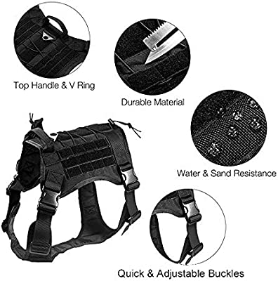 Amazon Com Petsidea Tactical Dog Molle Harness Vest K9 Hunting