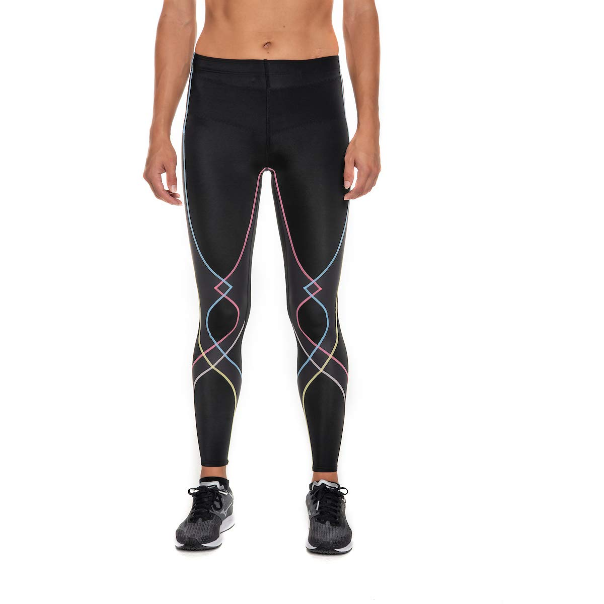 CW-X Women's Stabilyx Joint Support Compression Tight, Black/Rustic Rainbow, Medium by CW-X