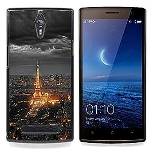 Eason Shop / Premium SLIM PC / Aliminium Casa Carcasa Funda Case Bandera Cover - Torre Eifel de París ciudad turística Nubes Noche - For OPPO Find 7 X9077 X9007