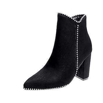 YAN Zapatos de Moda para Mujer, Gamuza Otoño Invierno Martin Botas Botines Botas Negras Atractivas Boda y Zapatos de Vestido de Noche: Amazon.es: Deportes y ...