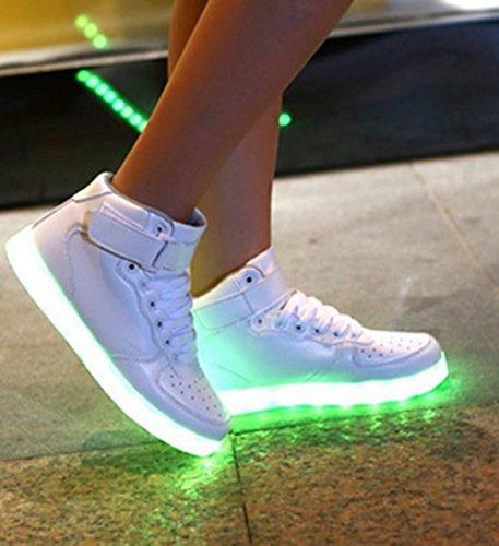[Present:kleines Handtuch]JUNGLEST® Unisex Frauen Männer USB Lade LED leuchten Glow Schuhe Luminous American Star Flagge Freizeitschuhe c41