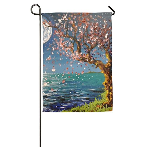 Garden Flag Seaside Cherry Blossoms Indoor Outdoor House Decorative Garden Flag Polyester Flag Banner 1218inch - Shops At Creek Cherry