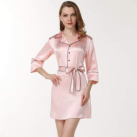 RU Pijama De Seda con Bata Camisón Mujer Cuello Estilo Camisa con Botones Completos En La