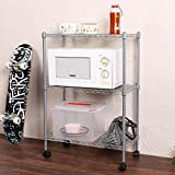 3-Tier Adjustable Steel Wire Rack Shelving Shelf Cart Portable Rolling Cart Rack with Locking Wheels, Perfect for Bathroom and Kitchens (Silver)