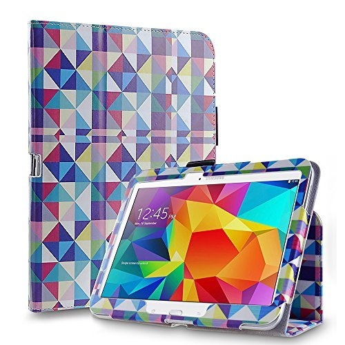 TNP Galaxy Tab S1 8.4 Case (Square Multi Color) - Slim Fit Synthetic Leather Folio Case Stand with Smart Cover Auto Sleep & Wake Feature and Stylus Holder for Samsung - Mall Of Square Map One