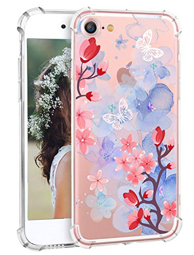 Hepix Floral iPhone 8 Case Watercolor iPhone 7 Protective Case Flowers Butterfly Clear Design Transparent TPU Bumper Cover Phone Case for Apple iPhone 7 / iPhone 8