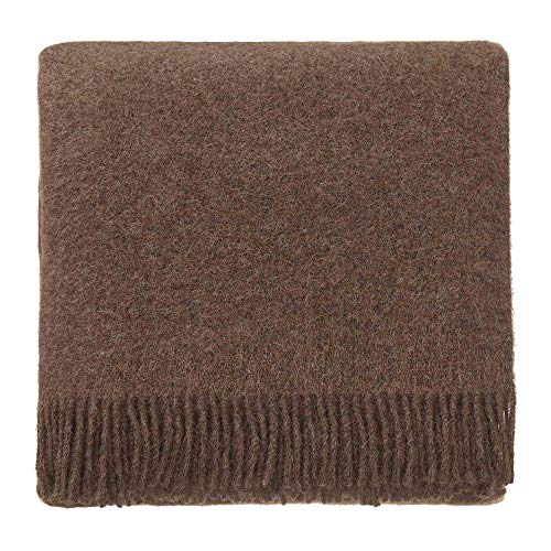 URBANARA 50% Pure Alpaca Wool 50% Pure Lambswool Throw Tahua 55x87 Light Brown with Fringe — Virgin Wool Blanket with One Blend — Perfect for Your Couch, Sofa, Bedroom, Twin Size Bed