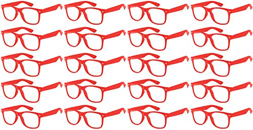Classic Retro Red Sunglasses Clear Lens Case of 20 Wholesale Bulk Party Glasses, Party - Wholesale Cases Eyewear