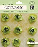 K&Company Scrapbooking Dimensional Flowers, Tim Coffey Foliage Green Paper