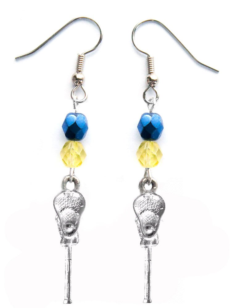''Lacrosse Stick & Ball'' Lacrosse Earrings (Team Colors Navy Blue & Gold)