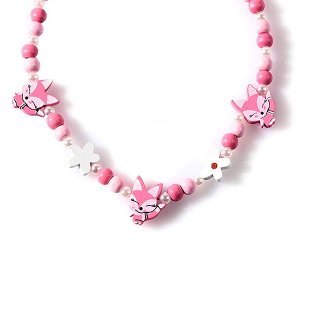 Arichtop Cartoon enfants Collier bijoux color/és Kid animaux Perles florales Accessoires de mode Bracelet