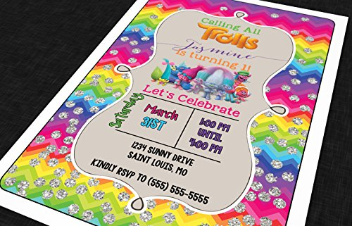 The Melange Market Customized - Birthday Invitation - Trolls, Personalized (20 Count with - Shower Baby Vellum Invitations