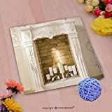 VROSELV Custom Cotton Microfiber Ultra Soft Hand Towel-white decorative fireplace with candles Custom pattern of household products(14''x14'')