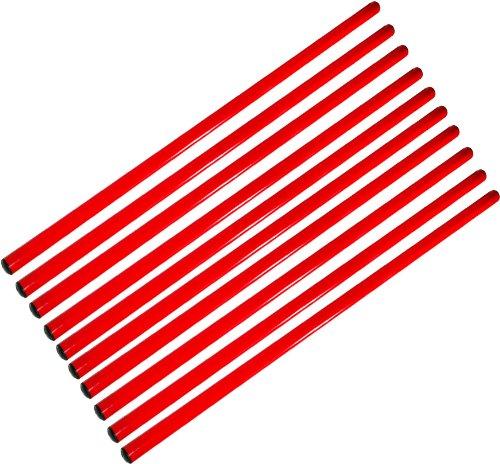 Agility Hundesport - 10er Set Stangen, Länge 100 cm, Ø 25 mm, rot