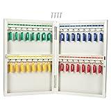 Key Cabinet - Steel Key Storage Locker - Wall Mounted Key Holder Box 32 Keys, Includes 32 Key Tags, 10.25 x 15 x 2 inches