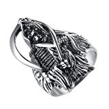 LineAve Men's Stainless Steel Grim Reaper Death Ring, Size 8, 8a5013s08
