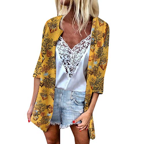 (Chiffon Cardigan for Women Long,SMALLE◕‿◕ Women's 3/4 Sleeve Kimono Floral Cardigan Summer Swimsuit Sunscreen Cover Up Yellow)