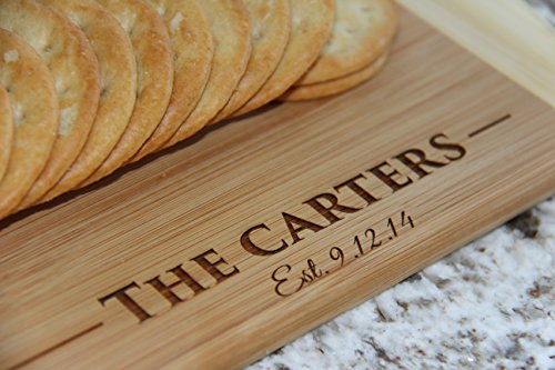 Personalized Cutting Board for Wedding Gifts - Wood Cutting Boards, Also Bridal Shower and Housewarming Gifts (11 x 14 Two Tone Bamboo with Curved Edges, Carter Design)