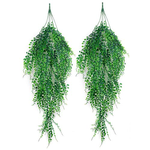 (Artificial Plants - Nocm Artificial Hanging Plants 2pcs Green Ivy Vine Shrubs Plant Outdoor Wal - Mini Miniature Artificial Like Clearance Tall Modern Reptiles Nearly Japanese Palm Topiary)