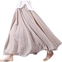 Falda Maxi De Mujer para Algodón Lino Faldas De Doble Especial Estilo Capa Falda Larga para Mujer Falda De Cintura Alta…