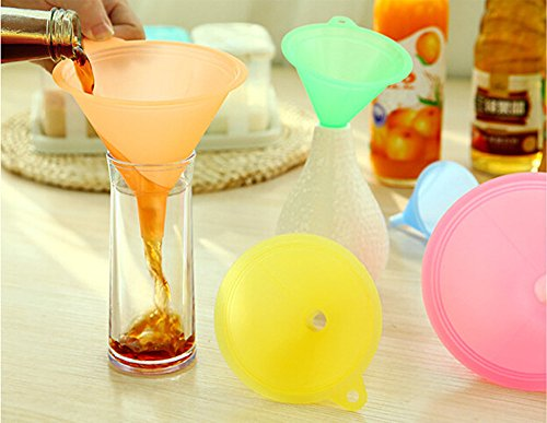 - 5 PCS Colorful Plastic Funnel Small Medium Large Flexible Liquid Oil Kitchen Set Food Essential Oils Kitchen Flask Mix (Multicolor)