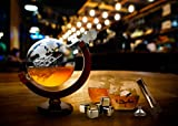 Whiskey Decanter Set World Etched Globe Decanter Antique Ship Glasses Sipping Stones Tongs Bar Funnel Stopper Liquor Dispenser Spirits Scotch Bourbon Vodka Rum Wine Tequila Brandy Perfect Gift 850 ml
