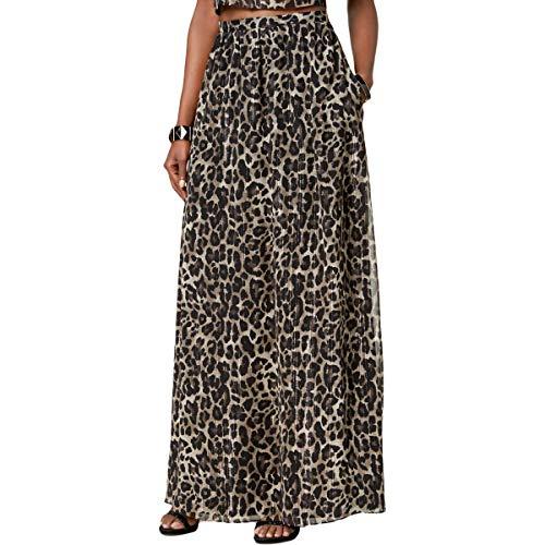 SL Fashions Womens Metallic-Stripe Animal Print Maxi Skirt Black -
