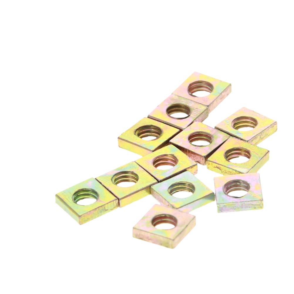 MroMax 50pcs Yellow Zinc Plated Square Machine Screw Nuts Fastener M6x10x3mm
