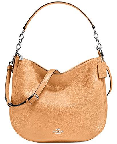 COACH Women's Polished Pebbled Leather Chelsea 32 Hobo Sv/Light Saddle Handbag by Coach