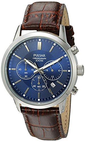 Pulsar Men's Quartz Brown Leather Dress Watch (Model: PT3789X)