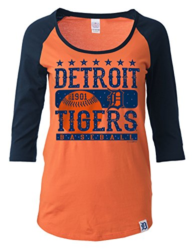MLB Detroit Tigers Women's 3/4 Sleeve Scoop Neck Tee with Contrasting Sleeves, Orange, Small – DiZiSports Store