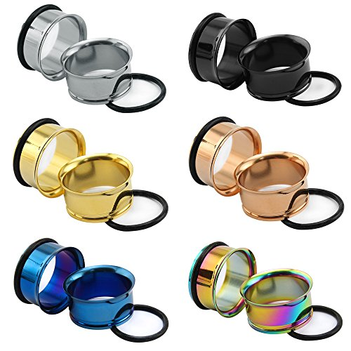 """Flared Single (6Pairs 8g-1"""" Stainless SteelSingle Flared Ear Flesh Tunnel with Silicone O-rings Plug Gauge Ear Stretcher Expander (Gauge=5/8""""(16mm)))"""