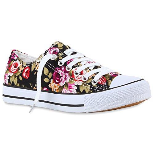 Damen Sneakers Blumen Freizeitschuhe Denim Sneaker Low Schuhe Stoffschuhe Turnschuhe Flandell Schwarz Flower