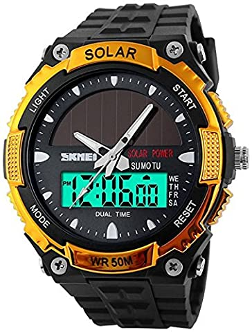 Fanmis Men's Solar Powered Casual Quartz Watch Digital & Analog Multifunctional Sports Watch Gold (Multifunctional Watch)