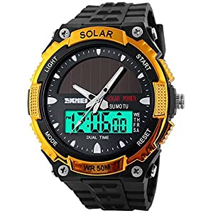 51oOSdIrsGL. SS300  - Fanmis Men's Solar Powered Casual Quartz Watch Digital & Analog Multifunctional Sports Watch Gold