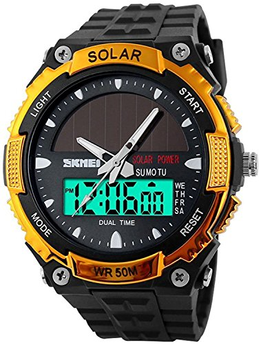 51oOSdIrsGL - Fanmis Men's Solar Powered Casual Quartz Watch Digital & Analog Multifunctional Sports Watch Gold