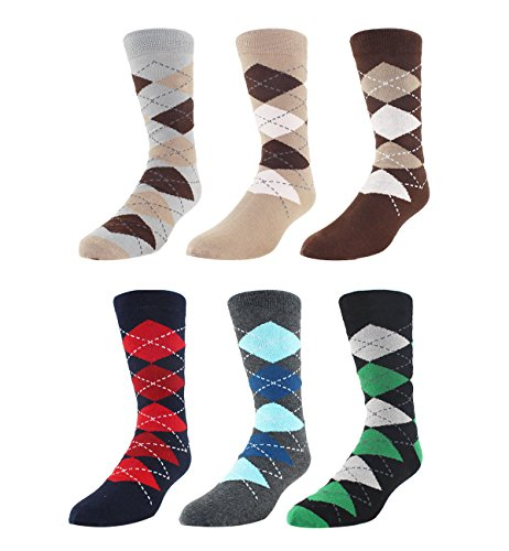 Men Cool Colorful Argyle Dress Socks Fancy Novelty Funny Casual Crew Socks