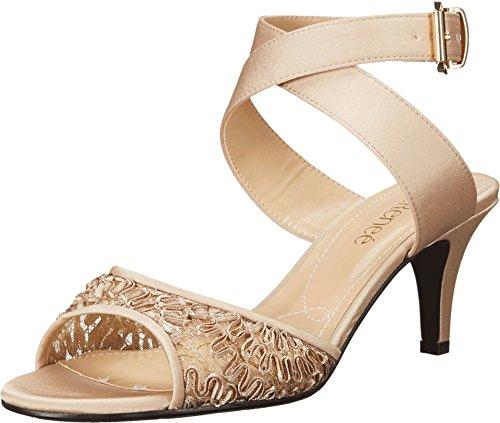 J.Renee Women's Soncino Criss Cross Ankle Strap Mid Heel Sandal,Champagne (J Renee Wrap)