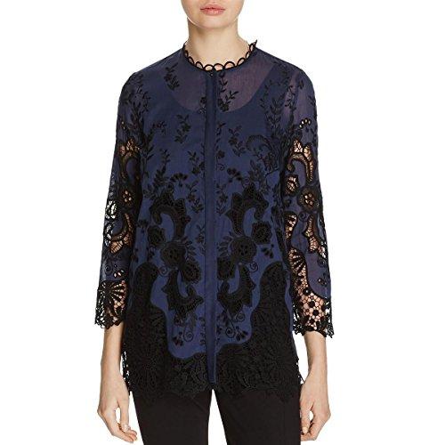 Elie Tahari Womens Dillon Embroidered Three-Quarter Sleeve Dress Top Navy M by Elie Tahari