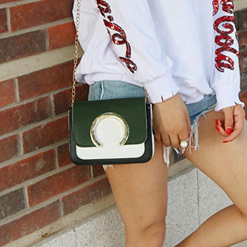 Bags Patchwork GREEN Bag Shoulder Fashion Bafaretk Chain Ring Decoration Women's Crossbody wgxzv0q6A