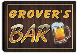 scpv1-0540 GROVER'S Bar Beer Mug Pub Stretched Canvas Print Sign