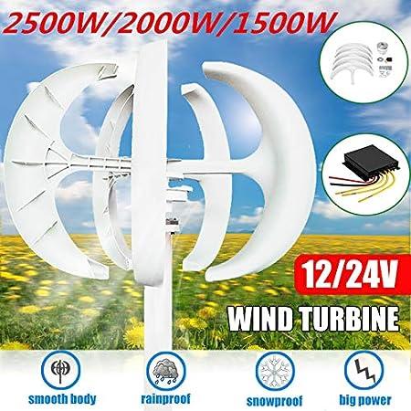 TQ 1500W / 2000W / 2500W turbinas de Viento Generador Controlador 12V24V + 5 Hojas Linterna de Eje Vertical para Uso residencial de los hogares de la farola