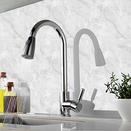 Comllen Best Modern Single Handle Pull Down Sprayer Chrome Kitchen Faucet, Pull Out Kitchen Faucets Chrome
