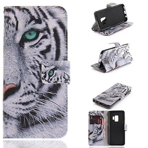 Galaxy S9 Wallet Case, S9 Case, Jenny Shop Kickstand Feature PU Leather Flip Foldable Wallet Cover Case Shockproof Portective Shell with Credit Card Slot for Samsung Galaxy S9, White Tiger